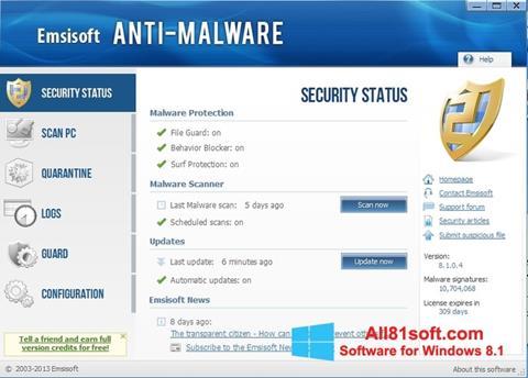 Screenshot Emsisoft Anti-Malware Windows 8.1