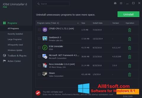 Screenshot IObit Uninstaller Windows 8.1